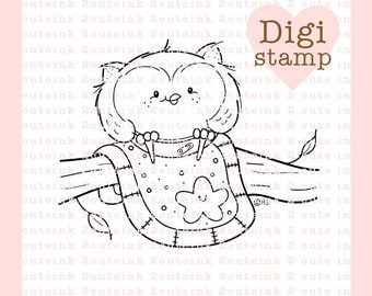 Little Owl Digital Stamp for Card Making and Paper Crafts