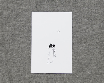 my japan serie, every day, set of pencil postcards, black and white prints