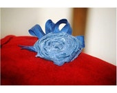 Blue Denim Bud Hair Clip. 4th Fourth July Independence USA Day Picnic, Girly Bridesmaid Couture Pin, Spring Fashion, Custom Made Order Color