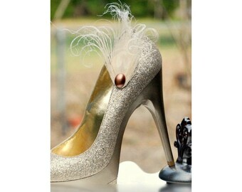 Golden Ivory Peacock Shoe Clips. Special Stylish Feminine Couture Statement, Stunning Burlesque Boudoir Bride Bridal Bridesmaid Gold Neutral