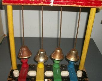 """Vintage Playskool Vintage """"Bell Boys"""" Wooden Toy 143C"""