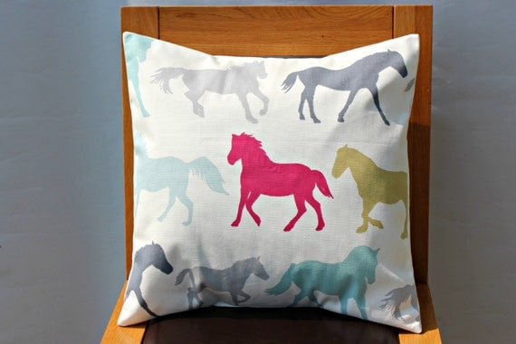 Decorative pillow Horses teal fuschia pink blue silver by VeeDubz
