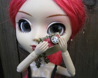 Dark Red Camera Doll Necklace for Blythe, Pullip, Dal, Monster High, BJD etc.
