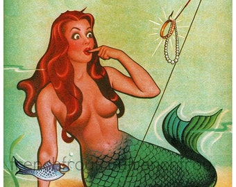 vintage pinup mermaid fishes illustration DIGITAL DOWNLOAD