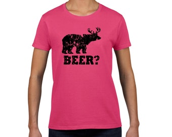Funny beer t shirt beer bear deer t shirt redneck hunter shirt gift for her birthday present shirt