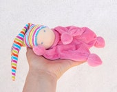 waldorf doll for baby colorful elf sweet face - baby rattle clown, made to order in different colors, handmade  by La Fiaba Russa
