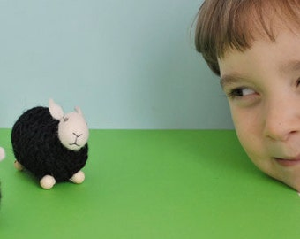 Tiny black wool sheep  white head - 1 pcs, waldorf toys. stufed toys. farm animal toys for playscape