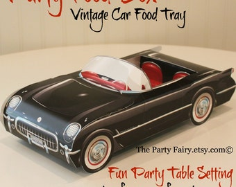 Car Food Box-6 Black Car Food Boxes-Cute PartY Food Tray-Race Car-Paper Food Box-Party Favor Box-Hot Wheels-Reto Classic Cars-Lunch Box Fun