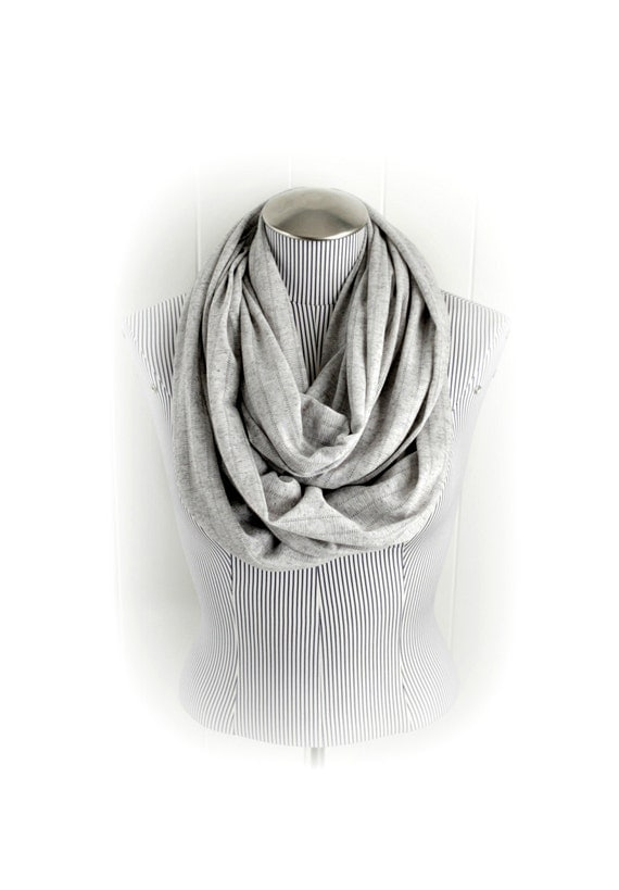 Light Gray Infinity Scarf, Sheer Knit Suble Stripe and Shimmer in Heather Gray