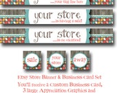 Custom PreMade Etsy Banner and Business Card Set - Partridge Family