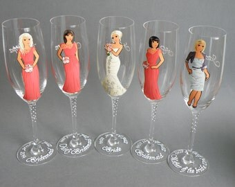 Bridesmaid Gift Bridal Party Wine or champagne Glasses Bridesmaids and Mother of the Bride's Gift Handpainted to their Likeness