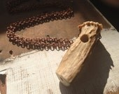 TAXIDERMY COUTURE Unisex Naturally Shed Antler One Hitter  Smoking Pipe Copper Necklace ooak