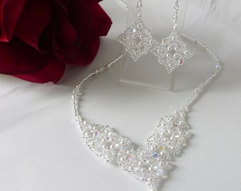 Woven  Necklace Set Pearl and Swarovski Crystal