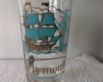 Vintage Souvenir State Glass Tumbler Plymouth Massachusetts Gold Turqouise Travel Vacation Retro Road Trip