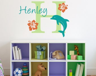 Initial & Name Wall Decal with Dolphin and Hibiscus Flowers - Hawaiian Wall Decal - Dolphin Decal - Medium