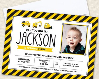 Construction Party Photo Invitations - Professionally printed *or* DIY printable