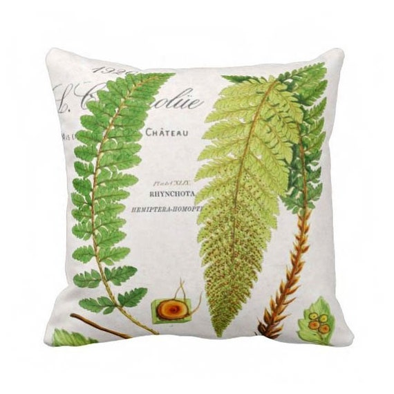 Modern Botanical Pillow : Pillow Cover Green Botanical Fern by JolieMarche on Etsy