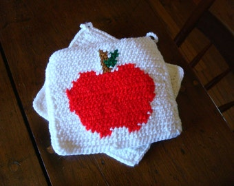 Apple Potholders, White, Red Potholders - Crochet Potholders - Crocheted Kitchen Apple Potholder, Pot Holder Gift for Teacher, End of School