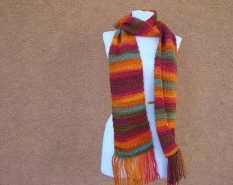 Unforgettable Scarf: Sunrise Scarf for Women in Bright Orange, Pink, Purple, Green, Blue, and Brown - Crocheted Scarf -  Autumn Scarf