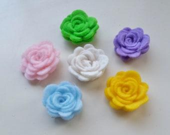 Felt flowers in paste colors  - set of 12