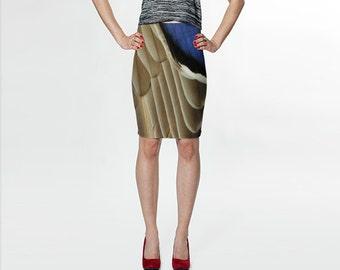 Mallard Feather Waterfowl Bird  - Blue Beige - Fitted Skirt - Pencil Skirt - Knee Skirt -  S M L XL - Women's Skirt Clothing