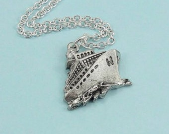 Cruise Ship Necklace, Silver Cruise Ship Charm on a Silver Cable Chain