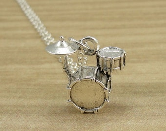 Drum Set Necklace, Silver Drum Set Charm on a Silver Cable Chain