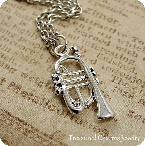 Trumpet Necklace, Silver Plated Trumpet Charm on a Silver Cable Chain