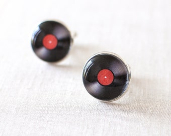 Vinyl Record Cufflinks. LP Cufflinks. DJ Cufflinks for Men. Retro Music Cufflinks for Him.  Men Jewelery.