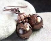 Brown Pearl Glass Bead Earrings -  A.1675