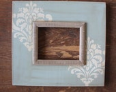 8x10 Quietude with Versatile Grey Etched Trim Distressed Frame in Damask