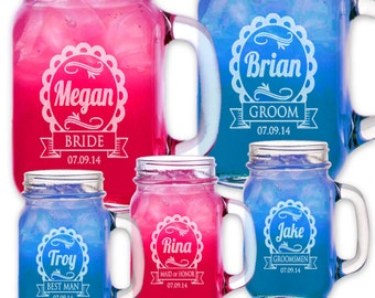 Cute Wedding Party Personalized Mugs Mason Jars with Handle Engraved Groomsmen Favor Bridesmaid Gift Idea Drinking Glasses Bulk  Discount
