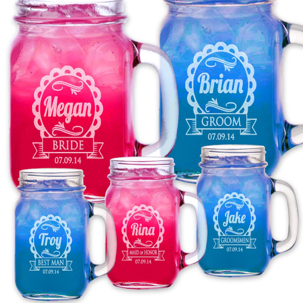 Cute Wedding Party Ideas: Cute Wedding Party Personalized Mugs Mason Jars With By