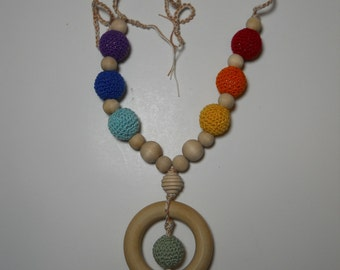 Crocheted beaded nursing / teething necklace....Eco friendly and natural  BN A