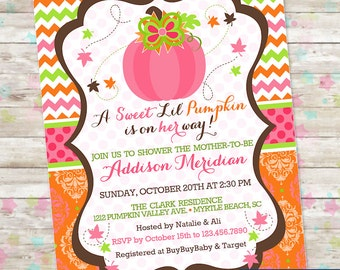 Sweet Lil Pumpkin, Fall Baby Shower, Autumn Baby Shower, Pumpkins, Pink Pumpkin, Digital or Printed Invite, Fall Leaves, Chevron and Damask