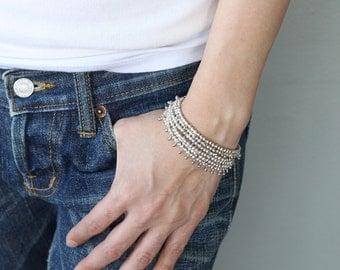 Water Drop Layer Silver Bracelet