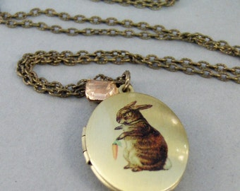 Tiny Bunny,Locket,Rabbit Locket,Rabbit Necklace,Pink,Vintage,Brass Locket,Locket Art,Birthstone,Locket,Antiqued Locket,Rhinestone