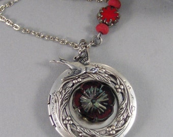 Crimson Poppy,Red Poppy,Poppy Locket,Poppy Neckalce,Silver Locket,Locket,Antique Locket,Red Necklace,Red Locke,Boho,Gypsy,valleygirldesigns.
