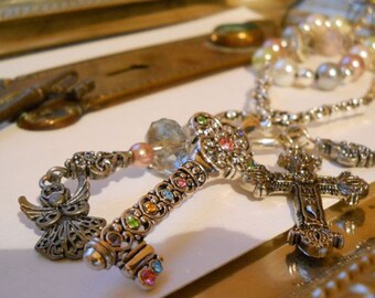 Keys to Eden - Set of Two Necklaces, multi strand, pearls, and crystals