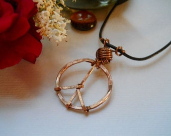 Peace n Love Copper Pendant on Leather Cord