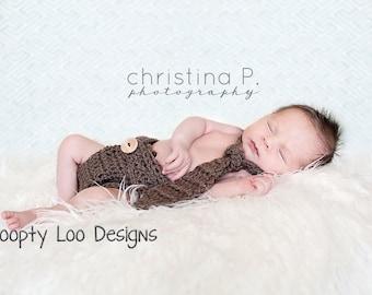 Newborn Photo Prop, Crochet Tie & Crochet Diaper Cover, Baby Boy - Sizes NEWBORN TO 12 MONTHS