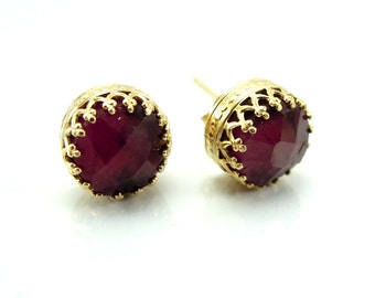 Ruby earrings set in gold filled lace