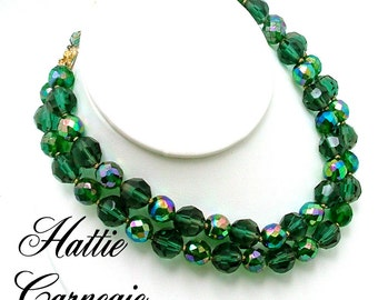 Vintage Hattie Carnegie Necklace Green AB Faceted Glass Beads Double Strand