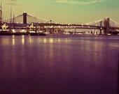 Brooklyn Bridge, New York Print, Purple, Green, Gold, NYC Art, New York City Print, Office Decor