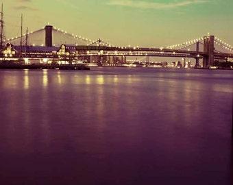 Travel Photography, Brooklyn Bridge, Purple, Green, Gold, New York Photography, Dark, Dusk, New York City Print