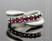 Rose Red Ruby and Thorns - Sterling Silver