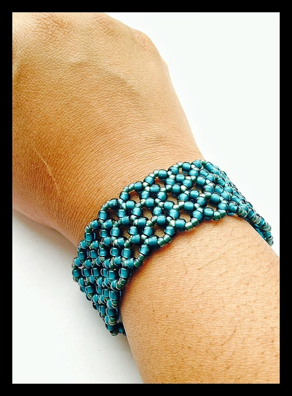 Turquoise Wide Beaded Cuff Bracelet Bead Woven Seed Bead