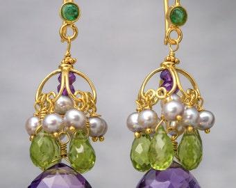 18K Solid Gold Dangle Earrings with Amethyst, Peridot, Pearls