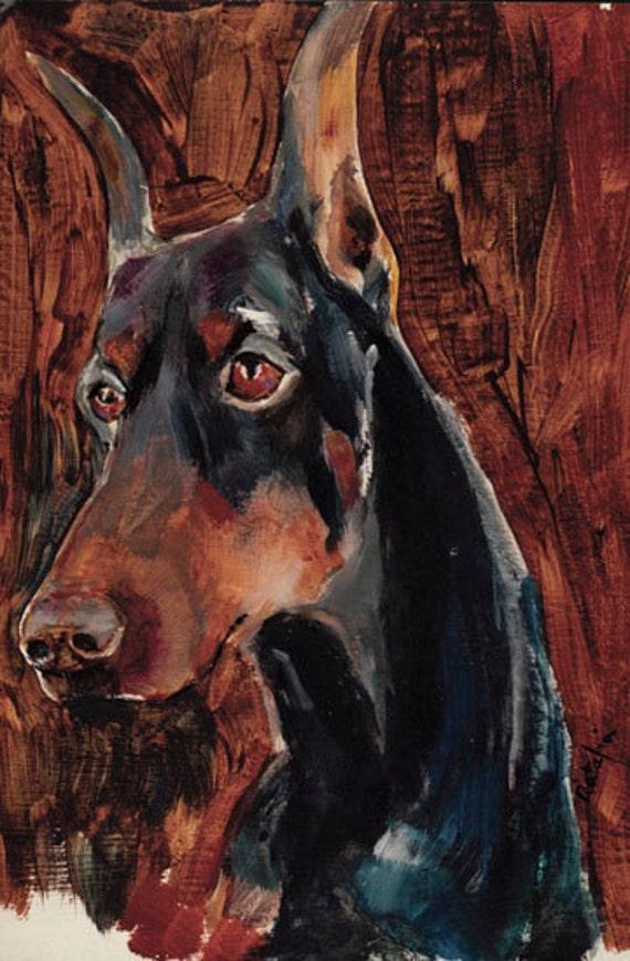Doberman Dobby Dobbie Acrylic dog prints signed by the artist Carol Ratafia double matted  to 16x20
