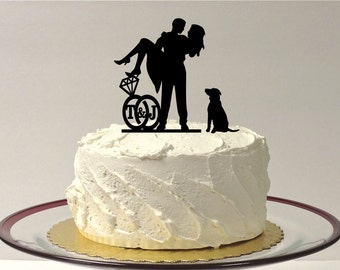 ADD YOUR DOG Personalized Cute Wedding Cake Topper with Your Initials Silhouette Cake Topper Bride + Groom + Pet Dog Monogram